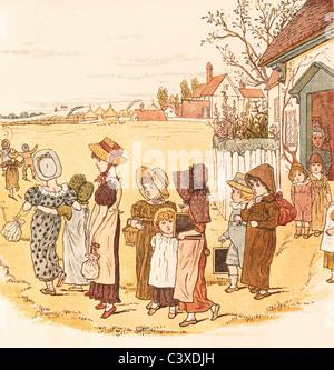 La scuola è finita, da Kate Greenaway. Inghilterra, fine del XIX secolo Immagini Stock