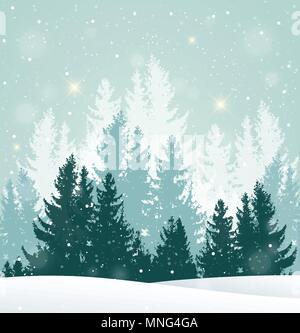 Natale sfondo vettoriale con l'inverno paesaggio innevato. Anno nuovo biglietto di auguri con abete. Immagini Stock