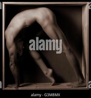 Nudo di donna stretching nella casella Immagini Stock