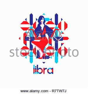 Modello di moda nel modello geometrico come Bilancia segno zodiacale Immagini Stock