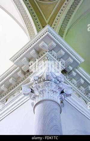Soffitto e colonna dettaglio della cappella palladiano, iniziato nel 1760 per la progettazione di James Paine, a Immagini Stock