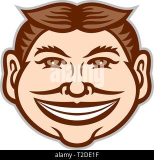 Icona di mascotte illustrazione della testa di un divertente volto grinning, leering, sorride sornione la trasmissione via IR la tazza con capelli parted in medio se visto dalla parte anteriore sulla isolato Immagini Stock