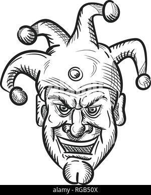 Disegno stile sketch illustrazione della testa di un pazzo medievale buffone di corte, arlecchino o ingannare con un ghigno silly grin o sorriso sul bianco isolato b Immagini Stock
