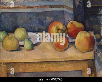 Ancora in vita con le mele e le pere di Paul Cezanne, 1891-92, Francese Post-Impressionist pittura ad olio. La solidità Immagini Stock