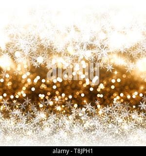 Sfondo di natale di oro glitter, fiocchi di neve e luci bokeh di fondo Immagini Stock