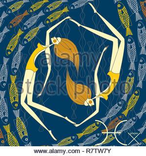 Twin modelli moda come pesci segno zodiacale Immagini Stock