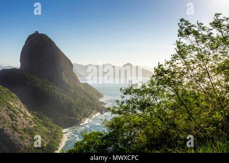La montagna di Sugarloaf visto da Babilonia Hill (Morro da Babilonia), Rio de Janeiro, Brasile, Sud America Immagini Stock