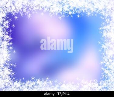 Sfondo di natale con un bordo a fiocco di neve Immagini Stock