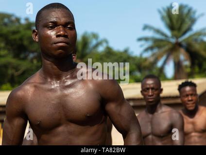 Dan trib uomini danzano con foglie durante una cerimonia, Bafing, Gboni, Costa d'Avorio Immagini Stock