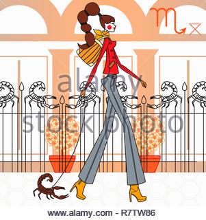 Modello di moda come scorpione segno zodiacale Immagini Stock