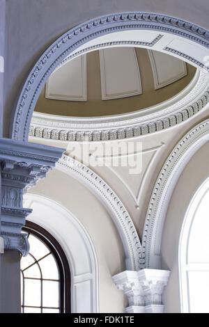 Il soffitto a cupola della cappella palladiano, iniziato nel 1760 per la progettazione di James Paine, a Gibside, Immagini Stock