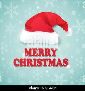 Vettore sfondo di Natale con i fiocchi di neve e il cappello di Babbo Natale. Buon Natale scritte Immagini Stock