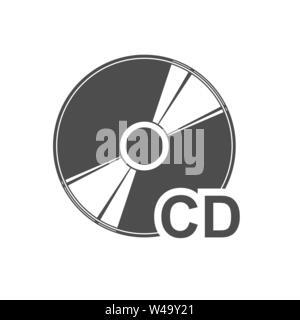 Semplice piatto CD icona del disco per la progettazione e la decorazione. Immagini Stock