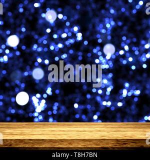 3D render di un tavolo di legno che guarda a un bokeh sfondo luci Immagini Stock