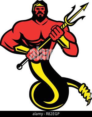 Icona di mascotte illustrazione di tifone,Typhoeus, Typhaon o Typhos, un mostruoso gigante a serpentina e il più micidiale creatura nella mitologia greca tenendo un Immagini Stock