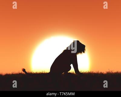 3D render di un leone stagliano contro un Cielo di tramonto Immagini Stock