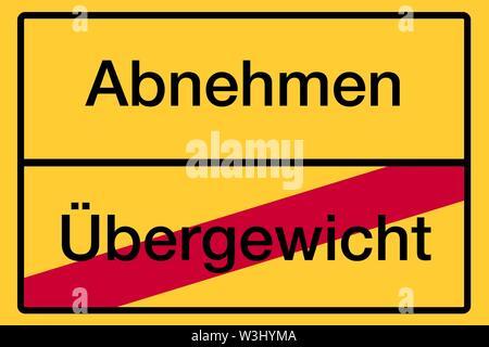 Posizionare il nome segno, fine della città, immagine simbolica, dimagrimento, sovrappeso, salute, Germania Immagini Stock