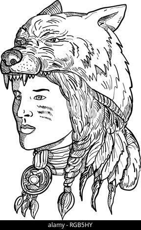 Disegno stile sketch illustrazione di un nativo americano donna che indossa un copricapo di lupo, copricapo o headwear guardando al lato in bianco e nero su isol Immagini Stock