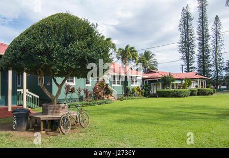 Il Kilauea Kauai Hawaii verde storico Cristo Memorial Chiesa Episcopale edificio schiool Immagini Stock