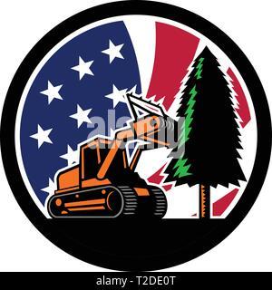 In stile retrò illustrazione di un cingolato trattore pacciamatura o Trincia forestale abbattendo gli alberi con American a stelle e strisce bandiera degli Stati Uniti all'interno del cerchio l Immagini Stock