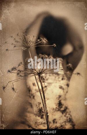 Immagine artistica della donna dietro impianto Immagini Stock