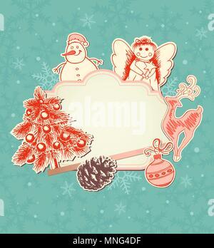 Vendemmia verde sullo sfondo di Natale con decorazioni di carta Immagini Stock