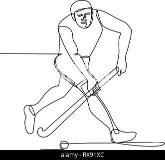 Linea continua illustrazione del campo di un giocatore di hockey con la mazza da hockey in esecuzione su per colpire la sfera fatto in bianco e nero in stile monolinea. Immagini Stock