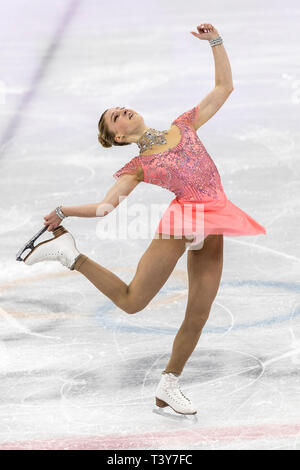 Maria Sotskova (OAR) competere nel pattinaggio di figura - Ladies' breve presso i Giochi Olimpici Invernali PyeongChang 2018 > Immagini Stock
