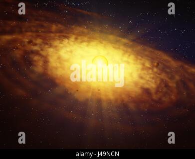 Disco Protoplanetary formazione - 3d illustrazione Immagini Stock