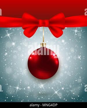 Vettore sfondo di Natale con fiocco rosso e la decorazione. Anno nuovo bigliettino. Immagini Stock
