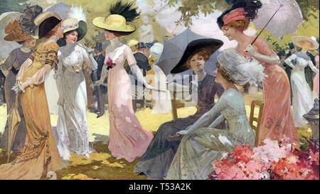 PARTY in giardino di circa 1900 Immagini Stock