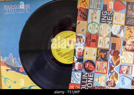 Rolling Stones album in vinile ancora in vita, Concerto Americano.1981. Immagini Stock