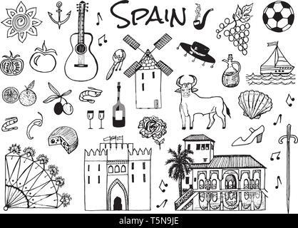 Lo spagnolo simboli tradizionali e oggetti. Serie di segni e icone in stile vintage. Disegnato a mano. Chitarra, futbol, musica e vino. Immagini Stock