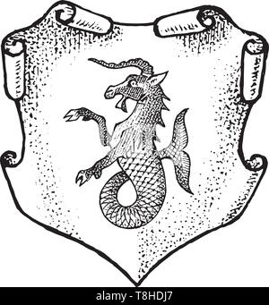Per animale araldico in stile vintage. Inciso lo stemma con pesci di capra, mitica creatura. Emblemi medievale e il logo del regno fantasy. Immagini Stock