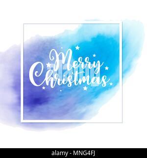 Vettore di astratta holiday lo sfondo con il saluto l'iscrizione. Scheda di Natale con blu texture acquerello. Immagini Stock