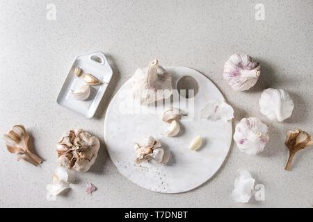 Gruppo di fresche biologiche bulbi di aglio chiodi di garofano interi e pelati in ceramica bianca con scheda grattugia su grigio Sfondo maculato. Laici piana, spazio Immagini Stock