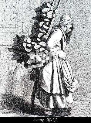 Una xilografia incisione raffigurante un uomo che trasportava un carico di legna da ardere home. Immagini Stock