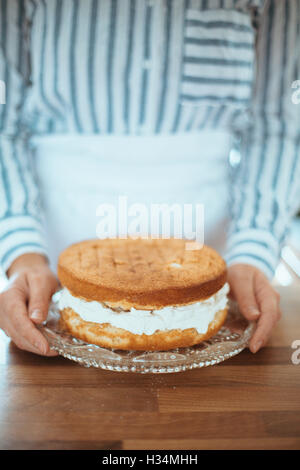 Donna con un bel dolce da forno. Immagini Stock
