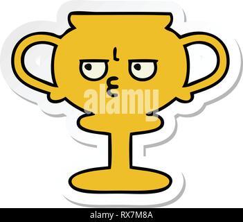 Adesivo di un cartoon carino trophy Immagini Stock