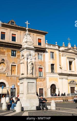 Piazza San Bartolomeo all'Isola (St. Bartolomeo) sull' Isola Tiberina con il santuario fu commissionato nel 1869 dal Papa Pio IX, Roma, Lazio, l'Italia, Europa Immagini Stock