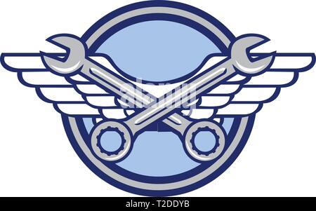 Icona di stile retrò illustrazione di un attraversato chiave o chiave e Air Force, aviatore esercito o ali impostato all'interno del cerchio su sfondo isolato. Immagini Stock