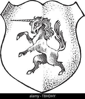 Per animale araldico in stile vintage. Inciso lo stemma con unicorn, mitica creatura. Emblemi medievale e il logo del regno fantasy. Immagini Stock