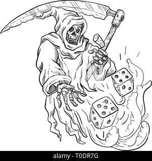 Schizzo di disegno illustrazione dello stile del Grim Reaper con una falce gettando a tirare i dadi isolato su sfondo bianco fatto in bianco e nero. Immagini Stock