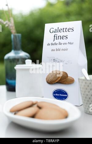 Francia, Morbihan, Belle-Ile isola, le Palais, i prodotti della Bien-Nommée biscottificio Immagini Stock