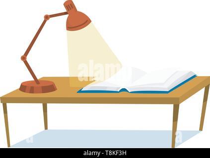 Una tabella di apprendimento e di lettura. Libro aperto e la lampada per gli amanti della letteratura. Immagini Stock
