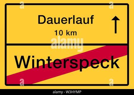 Posizionare il nome segno, fine della città, immagine simbolica, endurance corsa o inverno pancetta, salute, Germania Immagini Stock