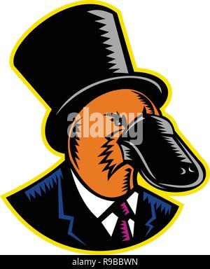 Retrò stile xilografia illustrazione di un anatra fatturati platypus, un uovo semiaquatic-posa di mammifero endemico dell'Australia orientale, indossando un cappello o top hat Immagini Stock
