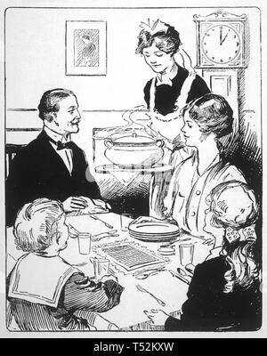 Famiglia inglese pasti 1917 Immagini Stock