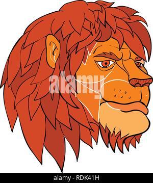 Lo stile del fumetto illustrazione di una testa di leone con piena mane ruminating in meraviglia visto dal lato isolato su sfondo in colore. Immagini Stock
