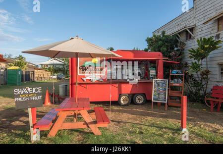 Kapaa Kauai Hawaii downtown villaggio rasatura Wailua Ghiaccio rosso negozio ristorante Locale ritrovo Immagini Stock